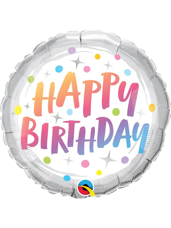 Foil Balloon Birthday Rainbow Dots