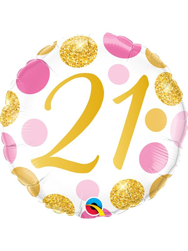 Foil Balloon Age 21 Gold & Pink Dots