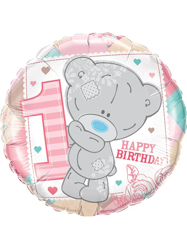Foil Balloon 1st Birthday Tatty Teddy Pink