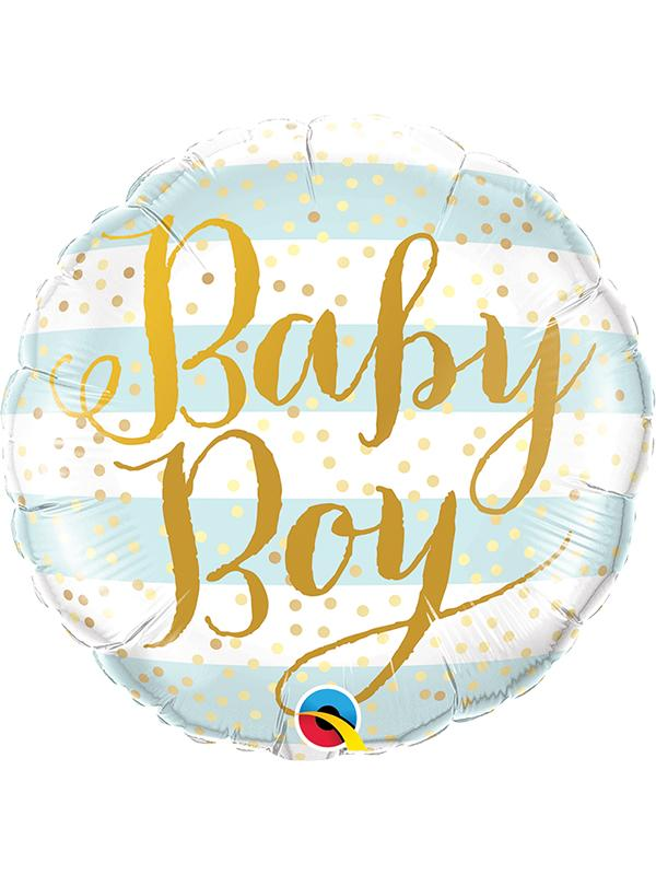 Foil Balloon Baby Boy Blue Stripes