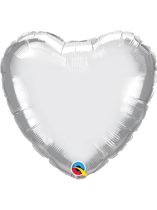 Foil Balloon Heart Chrome Silver