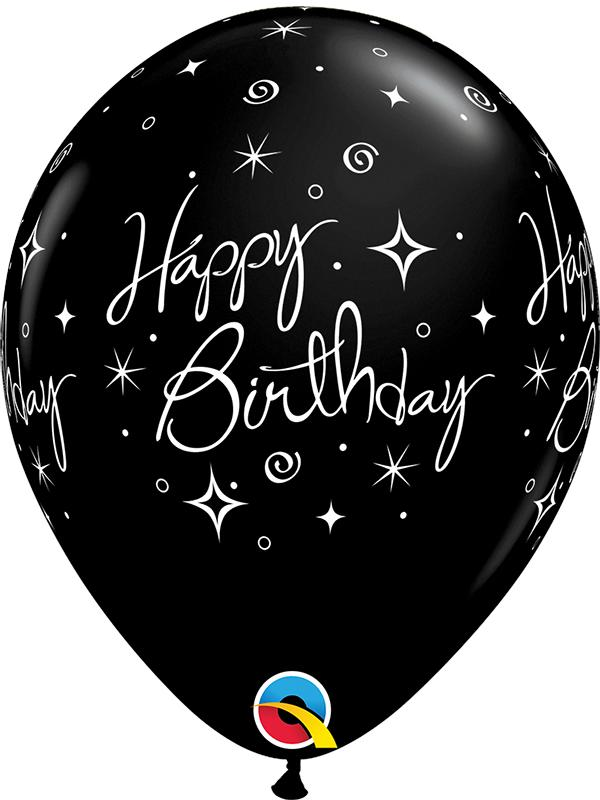 Latex Balloons Happy Birthday Black
