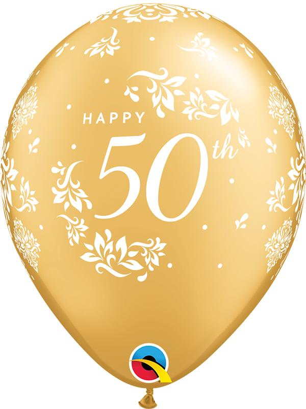 Latex Balloons 50th Anniversary Gold