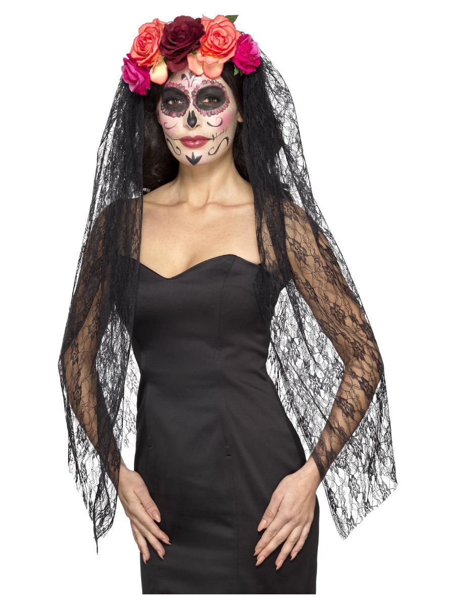 Deluxe Day of the Dead Headband & Veil