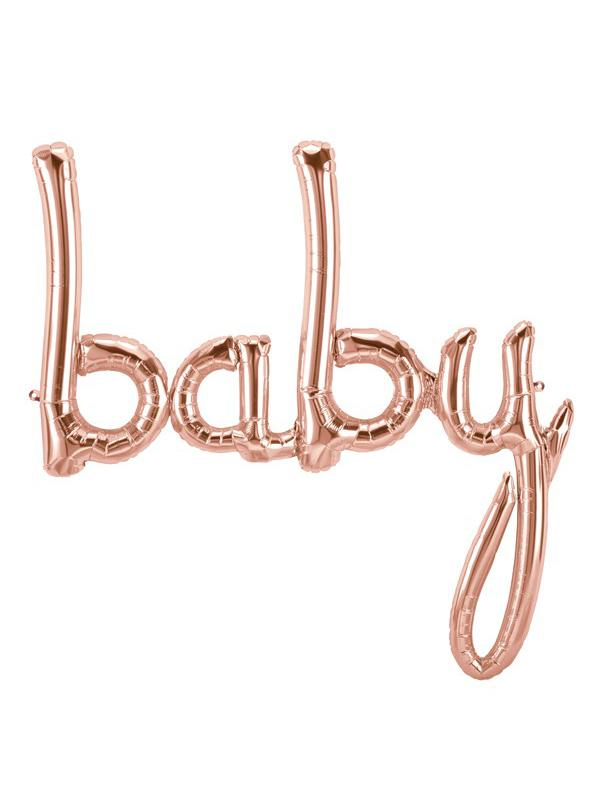 Script Balloon Baby Rose Gold Pink