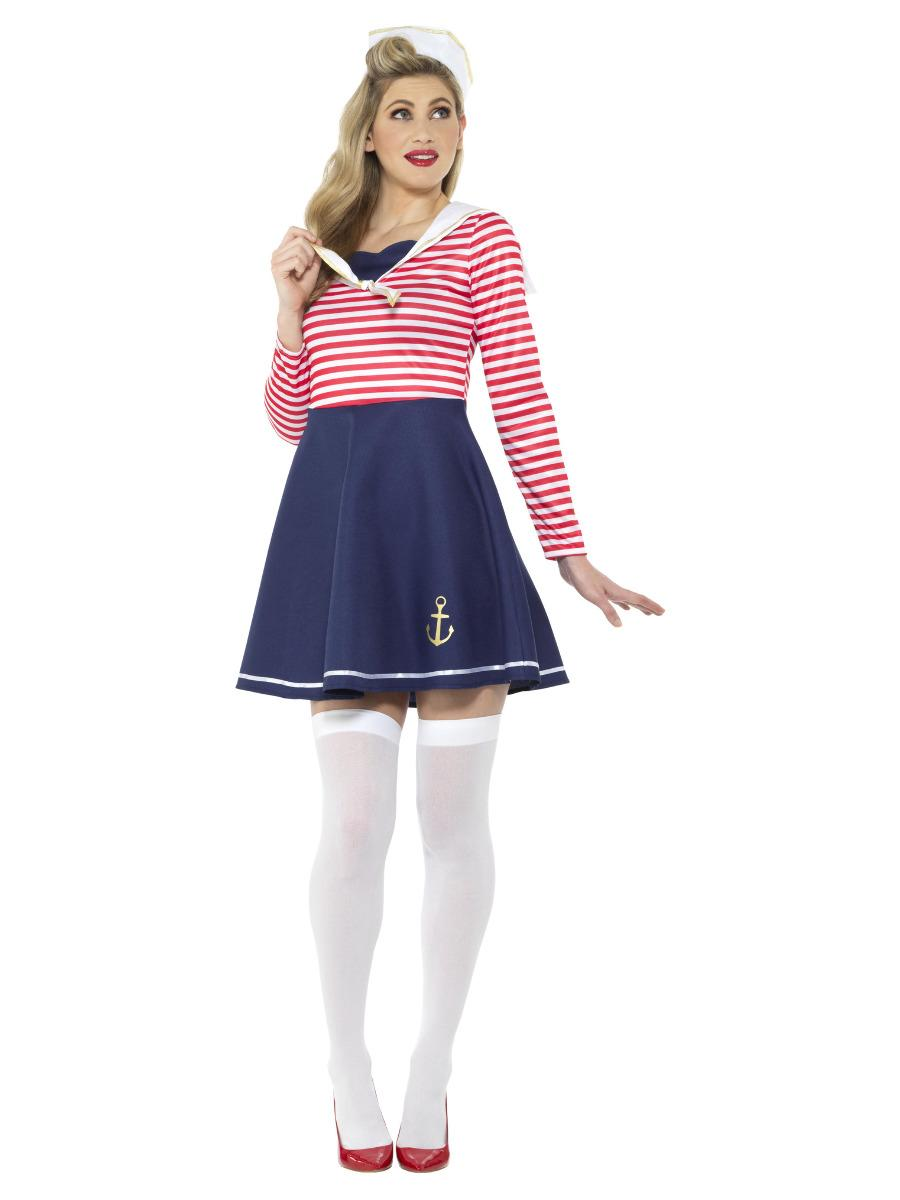 Sailor Lady Costume Red, Blue & White