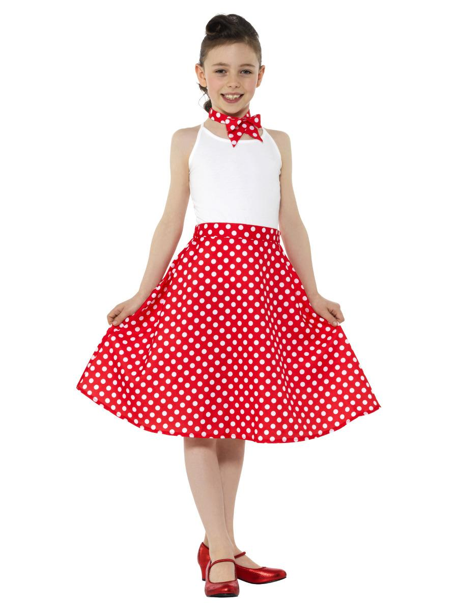 Kids 50s Polka Dot Skirt Red with Neck Scarf