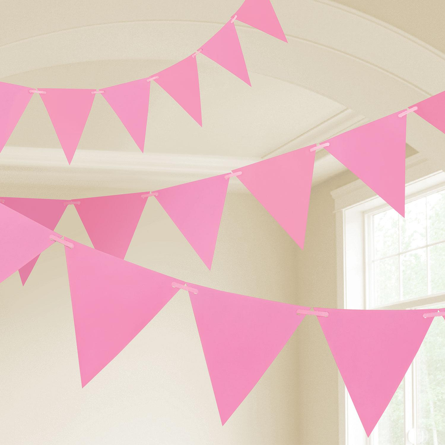 Pennant Bunting New Pink Plastic