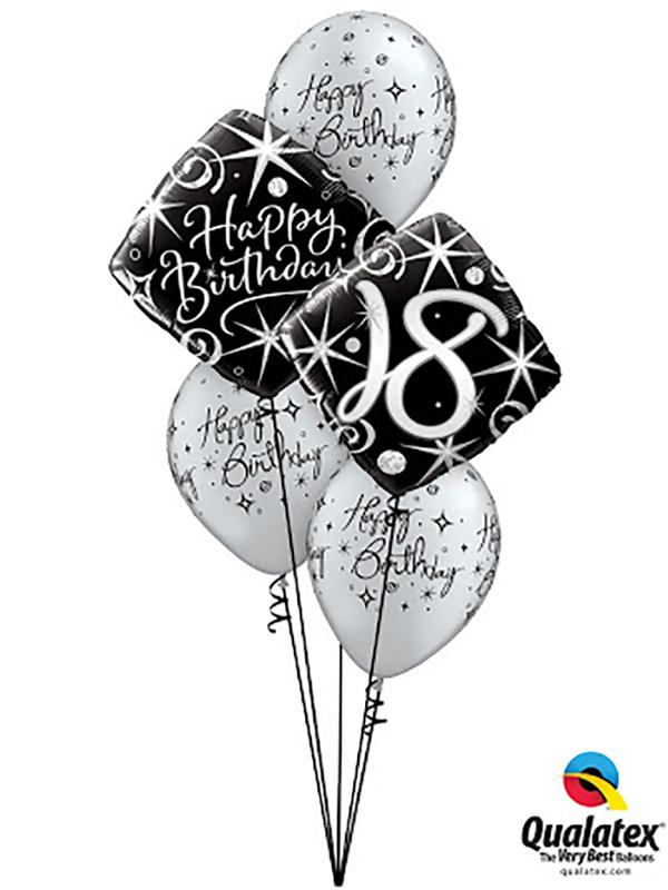 Black & Silver Birthday Classic Balloon Bouquet
