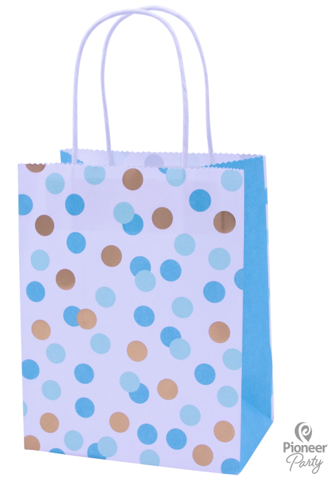 Blue & Gold Dot Paper Party Bags 4ct