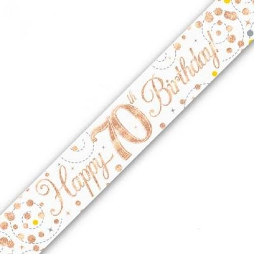 Sparkling Fizz Age 70 White & Rose Gold Holographic Banner