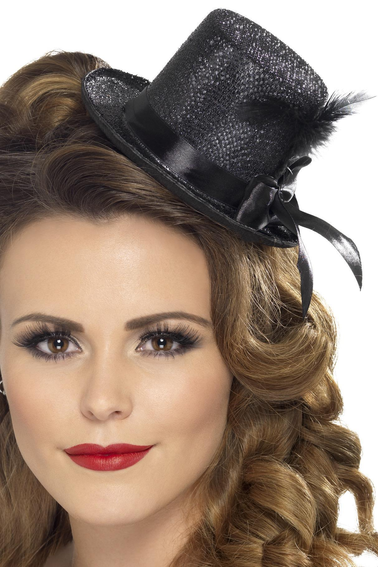 Mini Top Hat with Feather Black