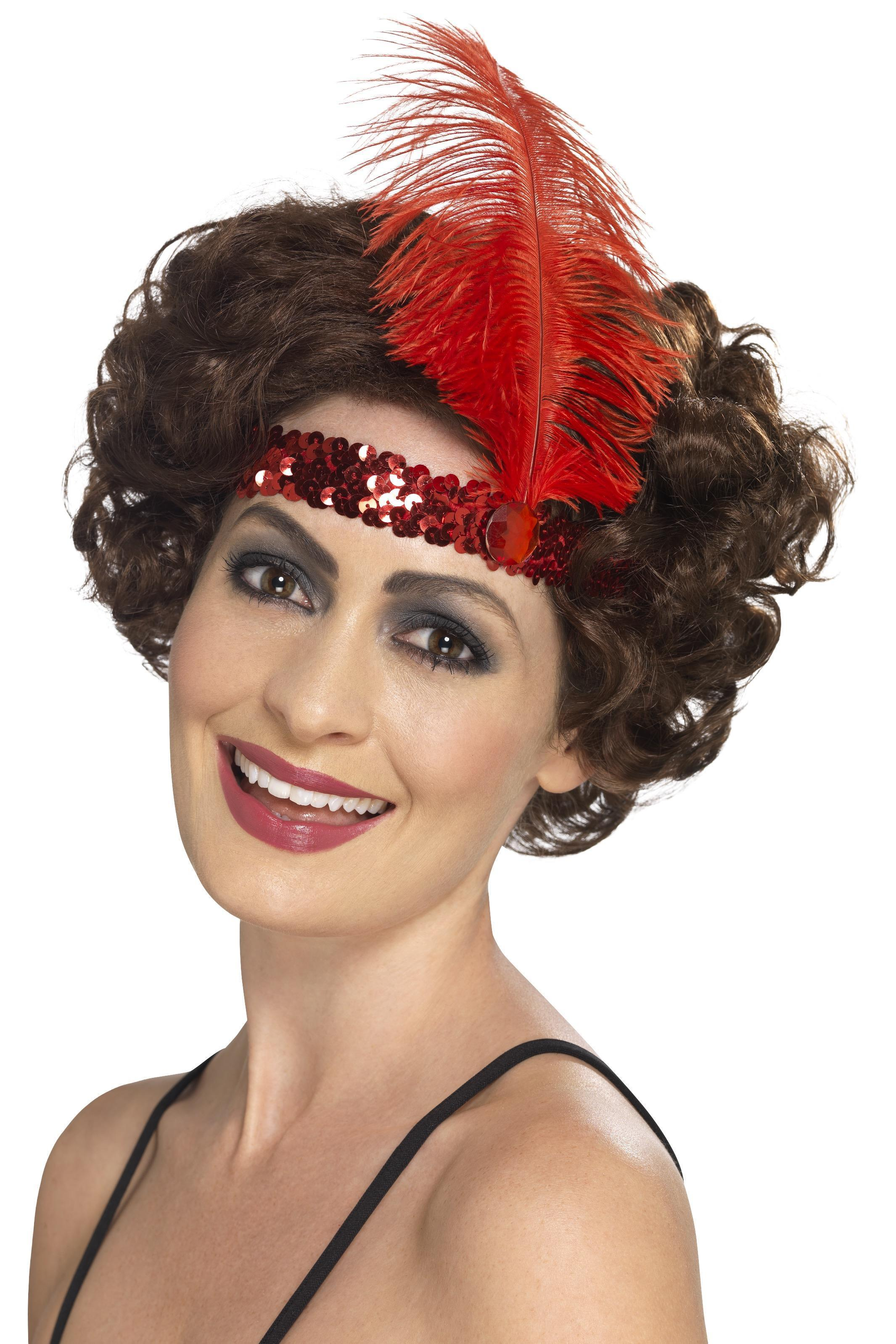 Flapper headband red sequin.