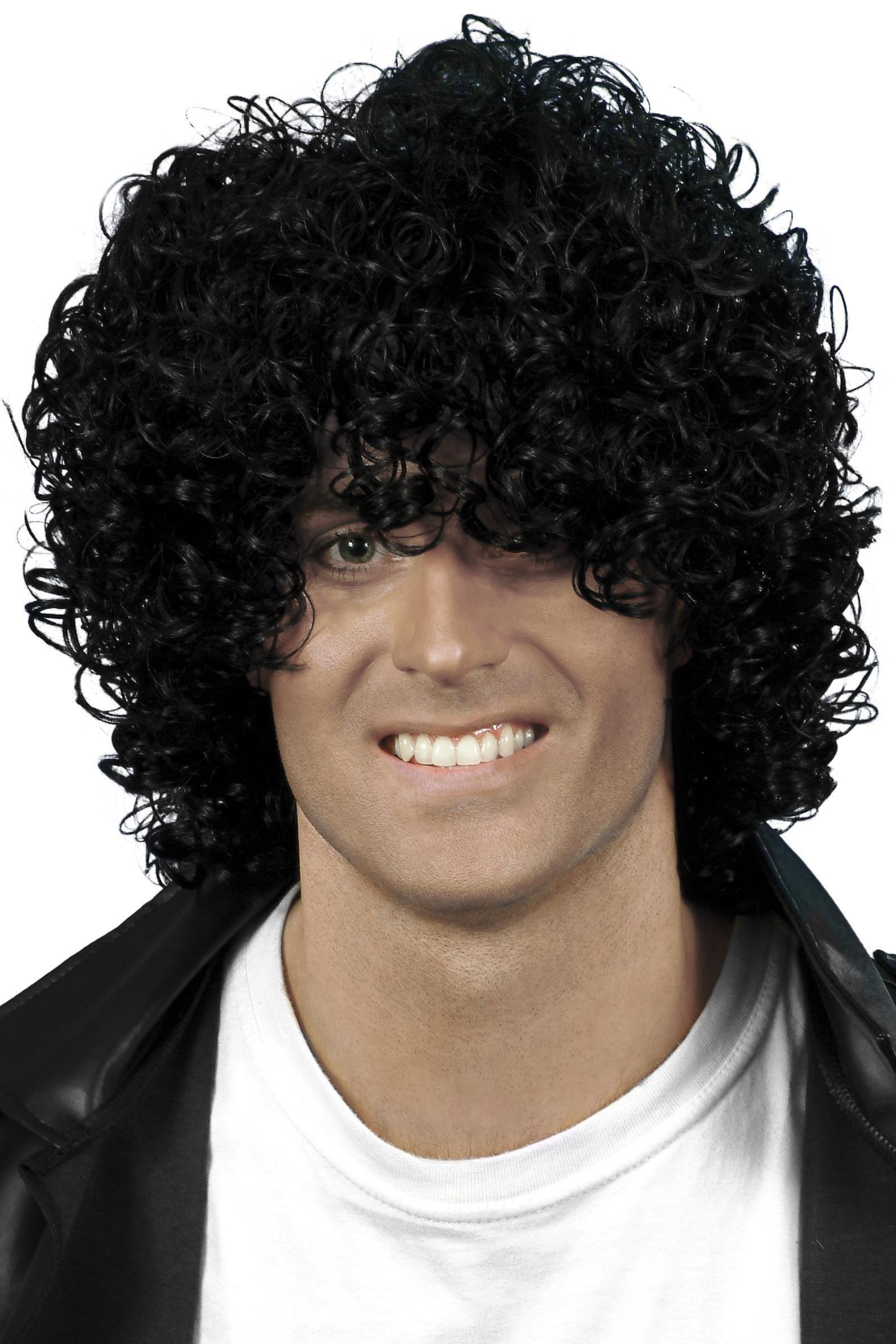 80s Wet Look Afro Wig Black