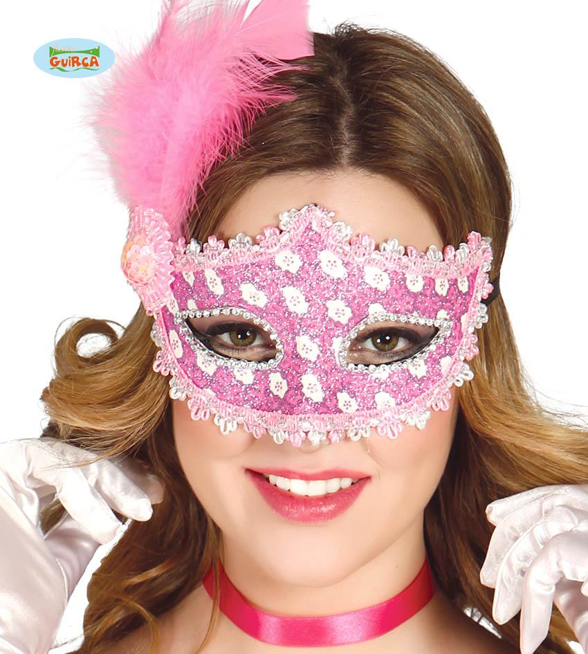 Pink & Silver Eye Mask with Feather