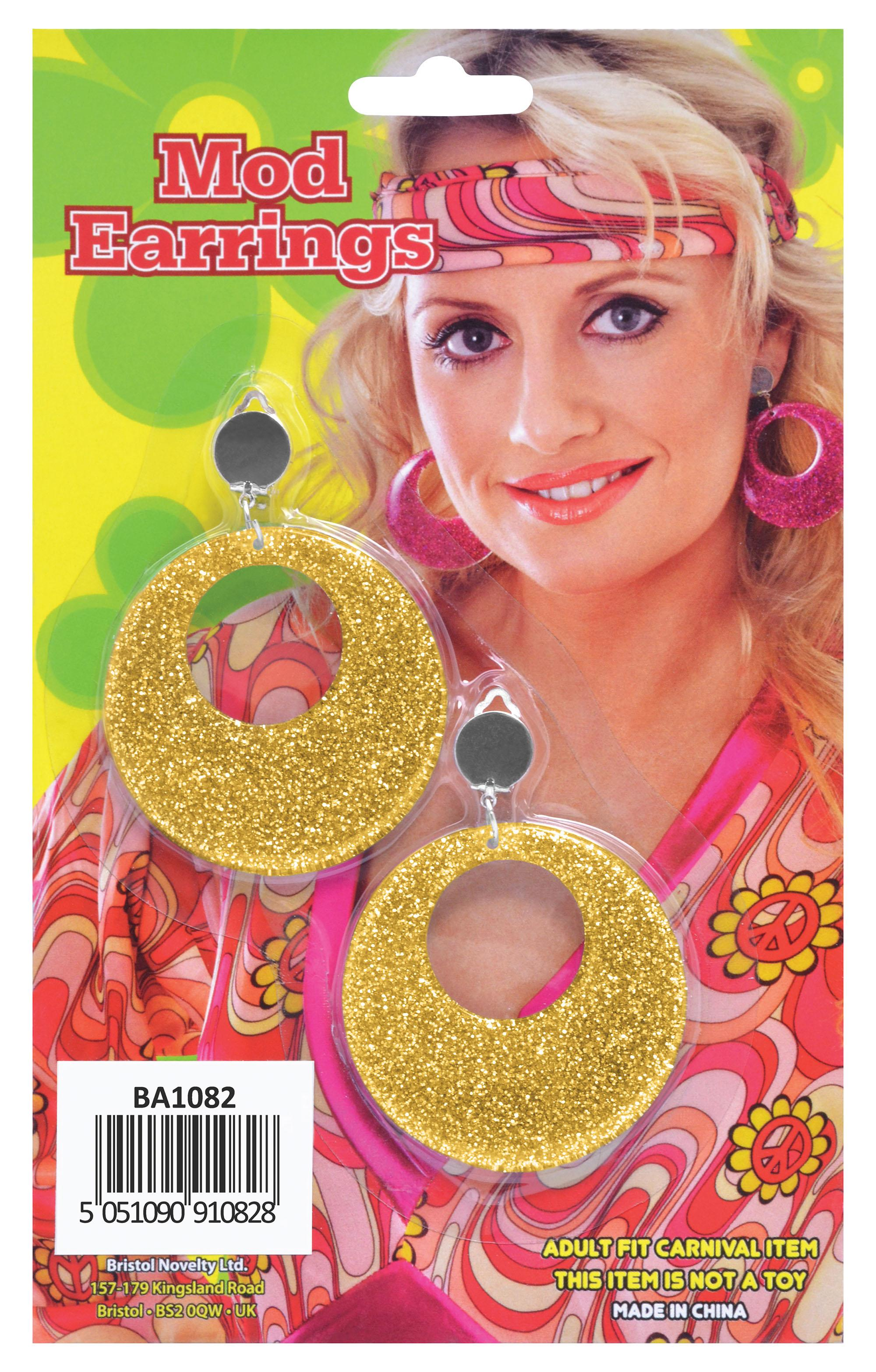 Mod Disco Glitter Earrings Gold