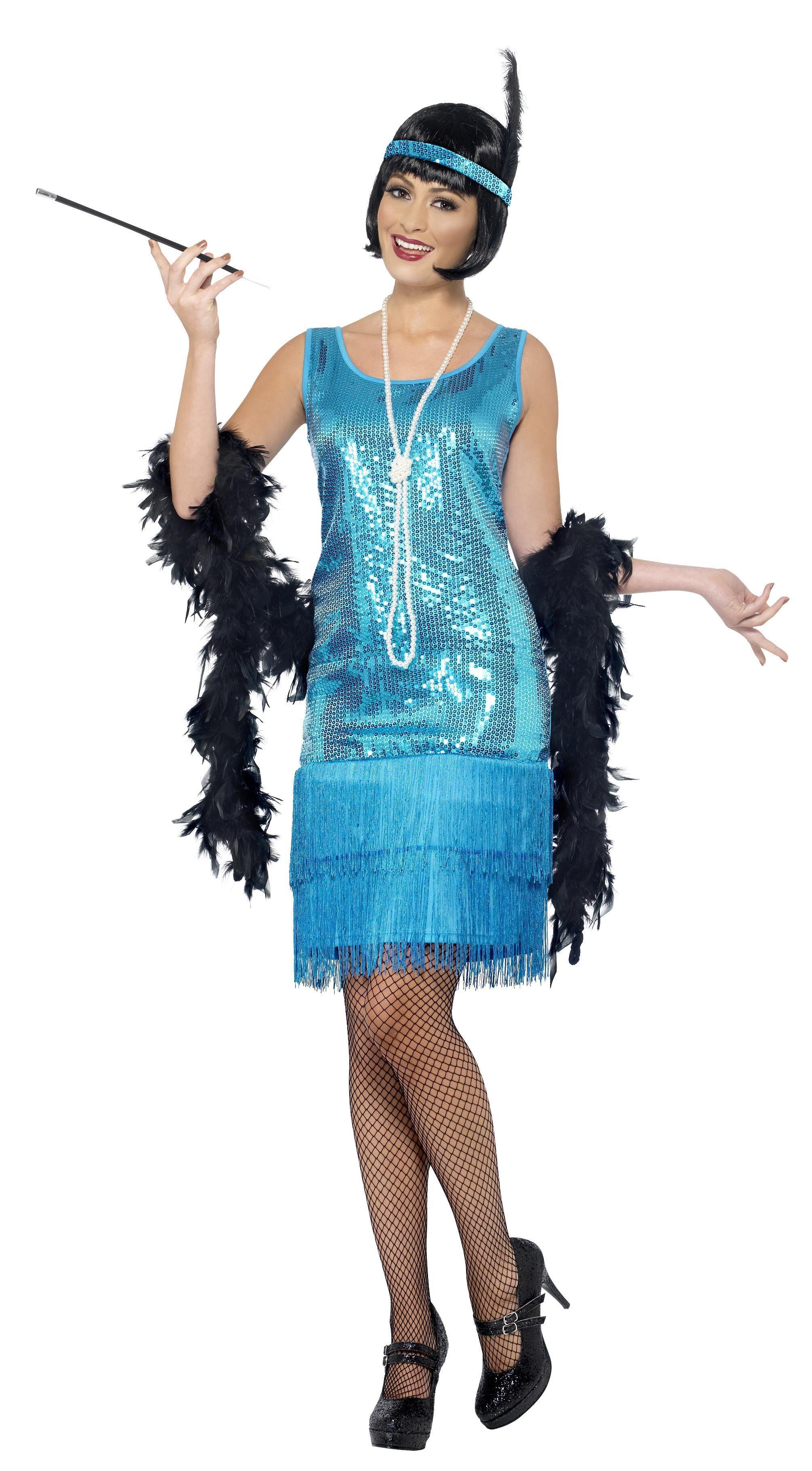 1920s Flirty Flapper Costume Teal