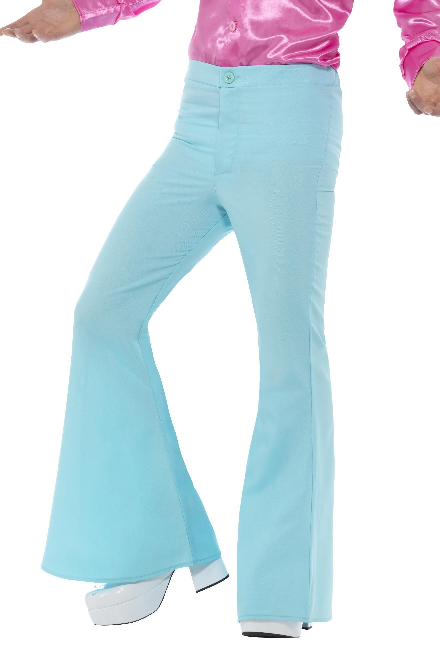 Mens Flared Trousers Blue