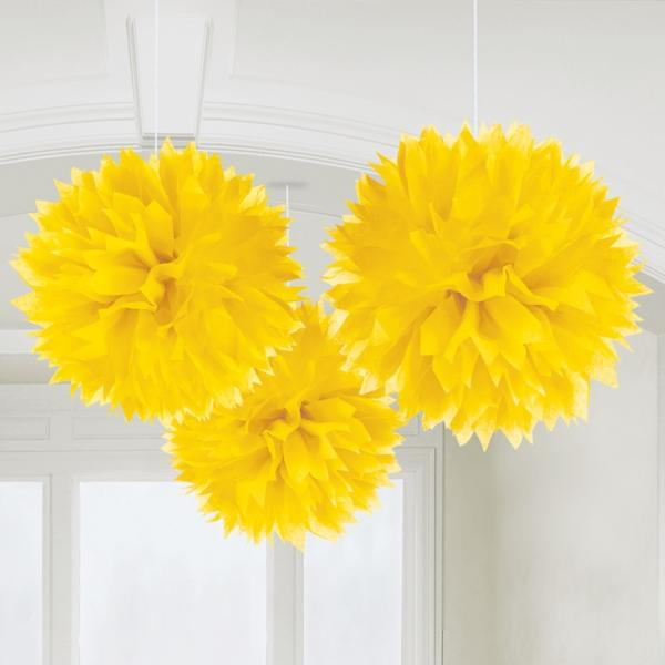 Fluffy Pom Poms Hanging Decoration Sunshine Yellow