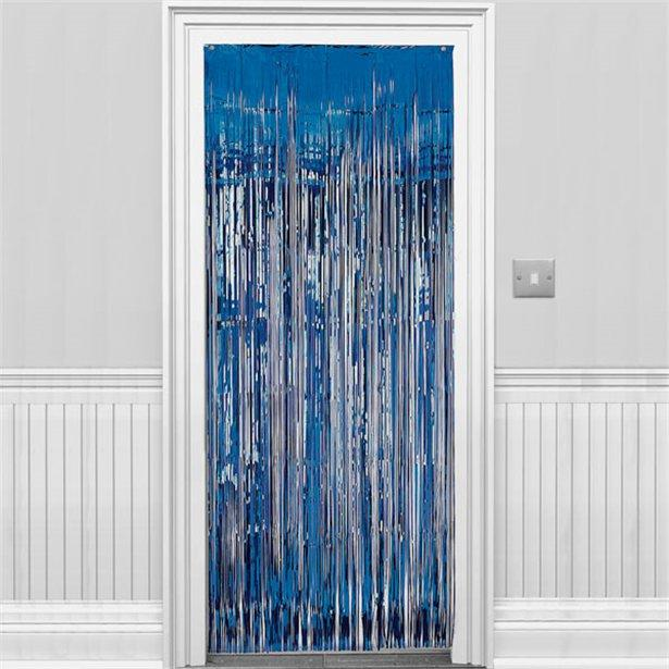 Metallic Fringed Door Curtain Royal Blue