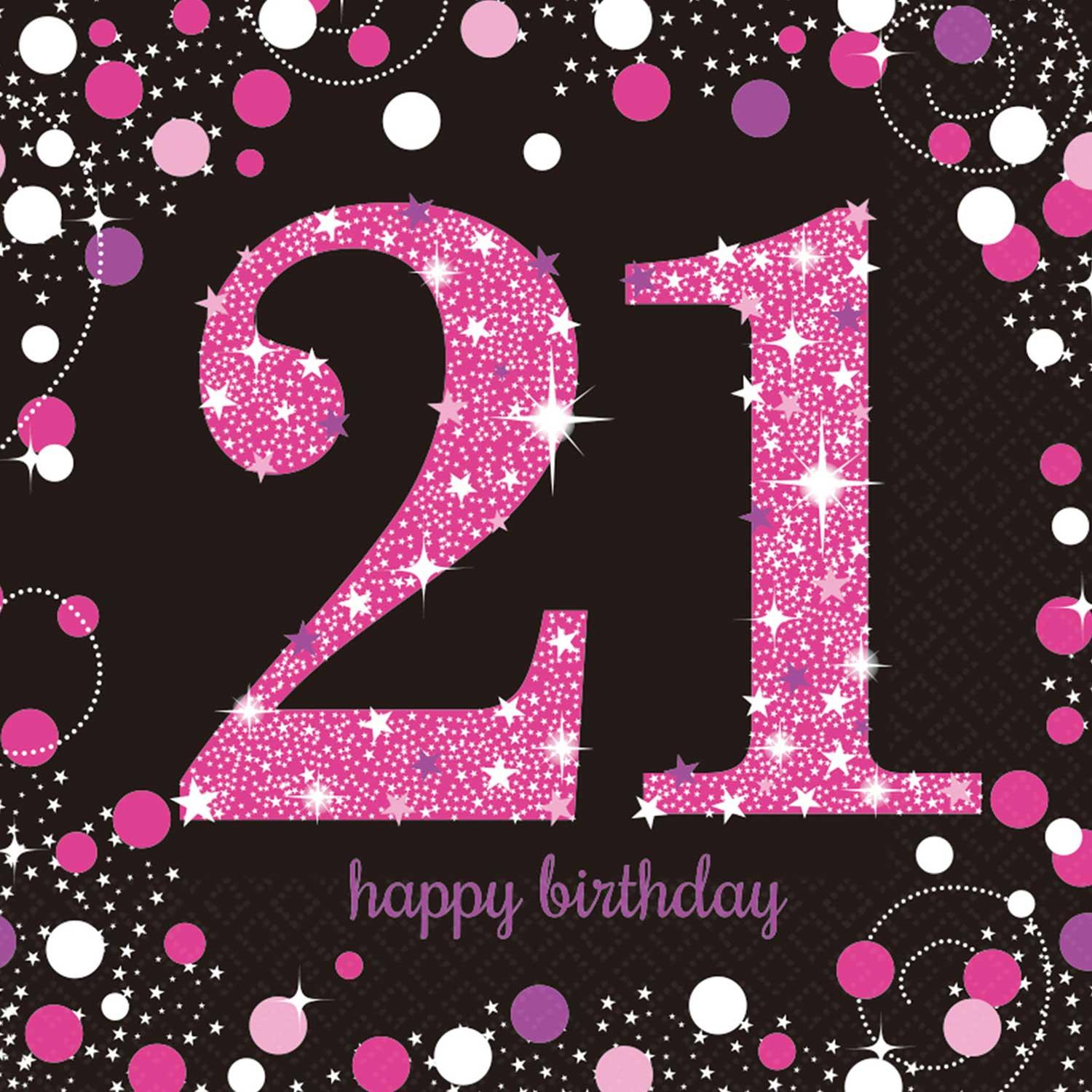 Paper Napkins 21st Birthday Pink & Silver