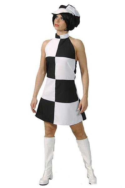 1960s Dress Black & White Hire Costume
