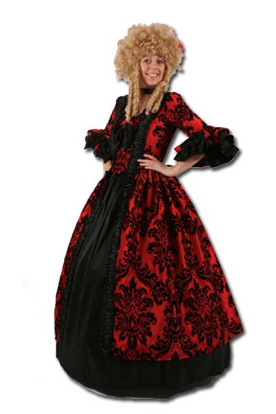 Baroque Dress Red & Black Costume