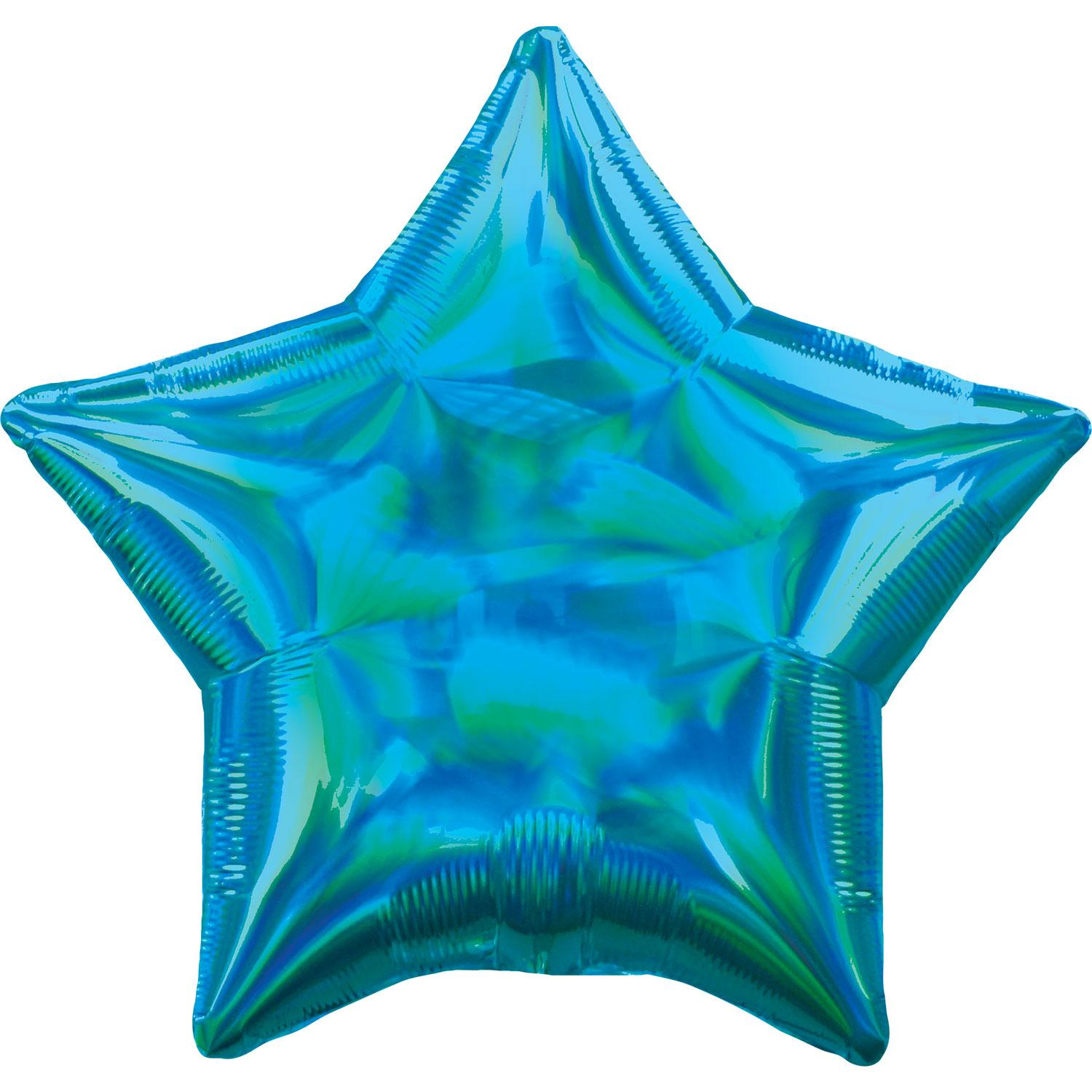 Foil Balloon Star Iridescent Cyan Blue