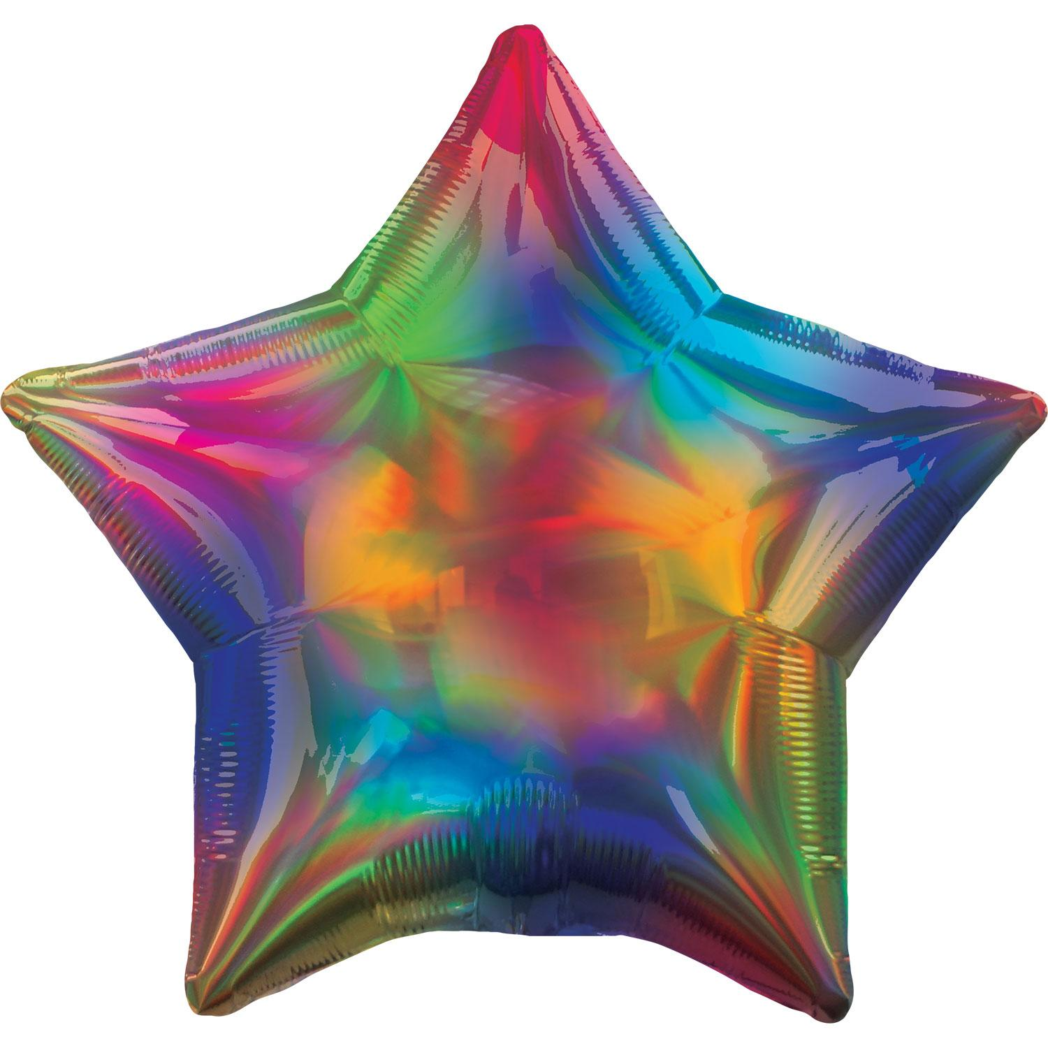 Foil Balloon Star Iridescent Rainbow
