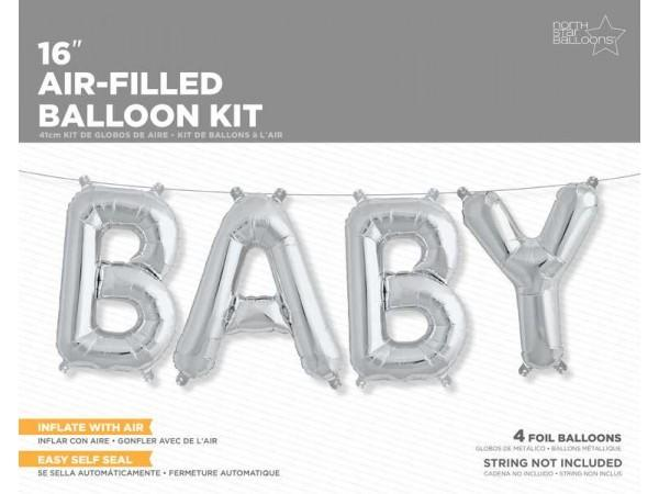 16 Inch Balloons Baby Silver Kit