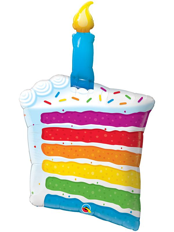 Foil Balloon Rainbow Cake with Candle 42 inch