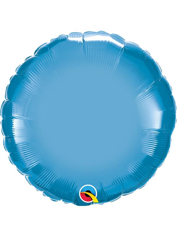 Foil Balloon Round Chrome Blue