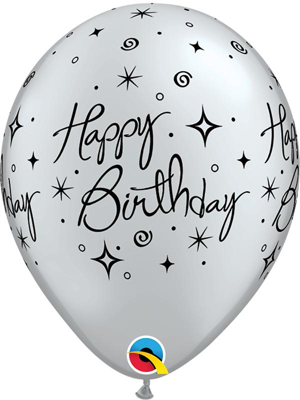 Latex Balloons Happy Birthday Silver