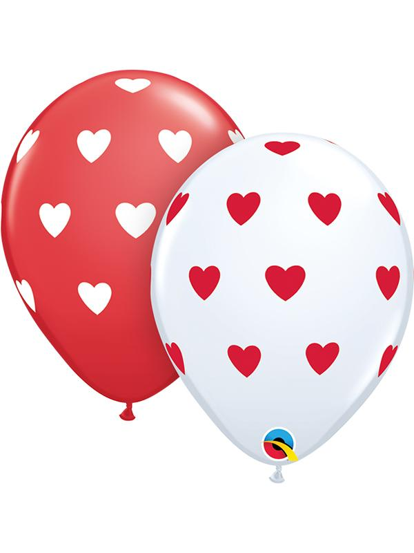 Latex Balloons Big Hearts Red & White
