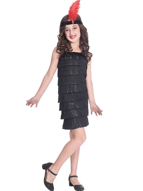 Kids 1920s Flapper Costume Black