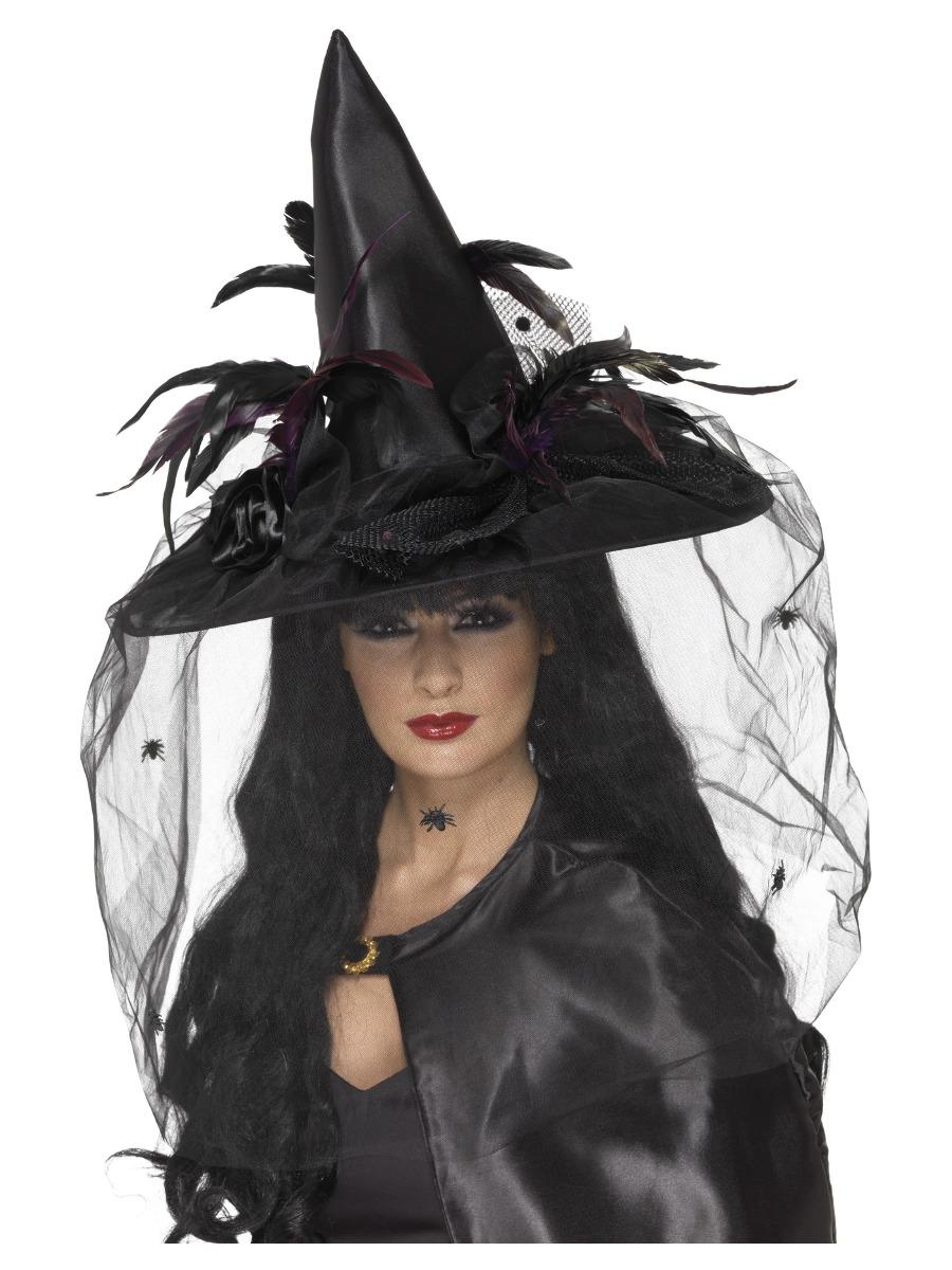 Witch Hat Feathers & Netting Black