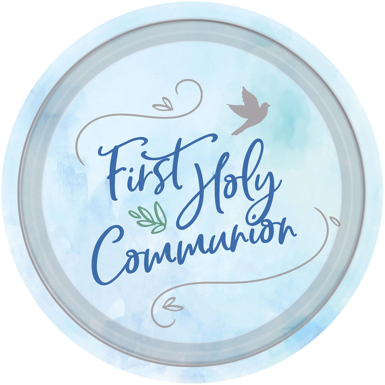 Paper Plates First Holy Communion Blue