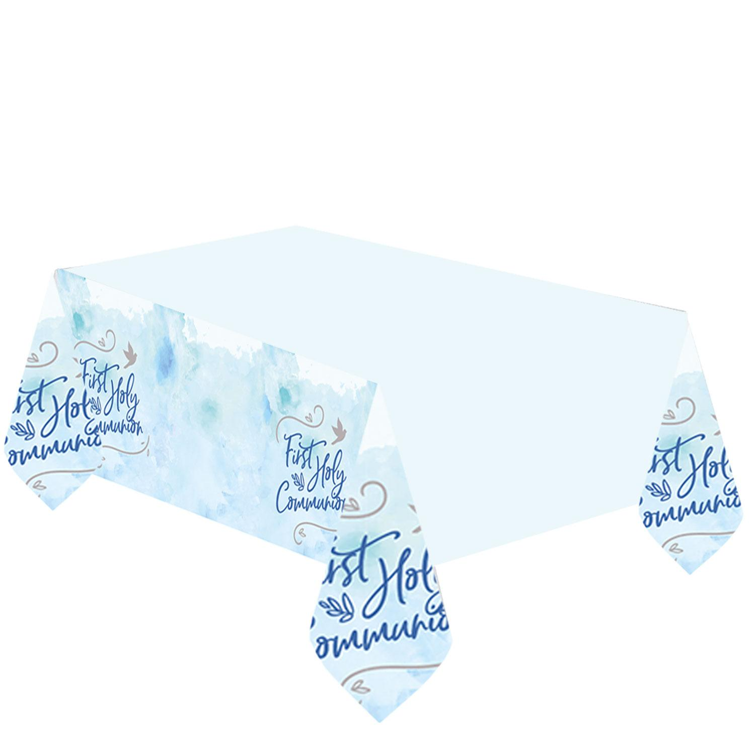 Plastic Tablecover First Holy Communion Blue