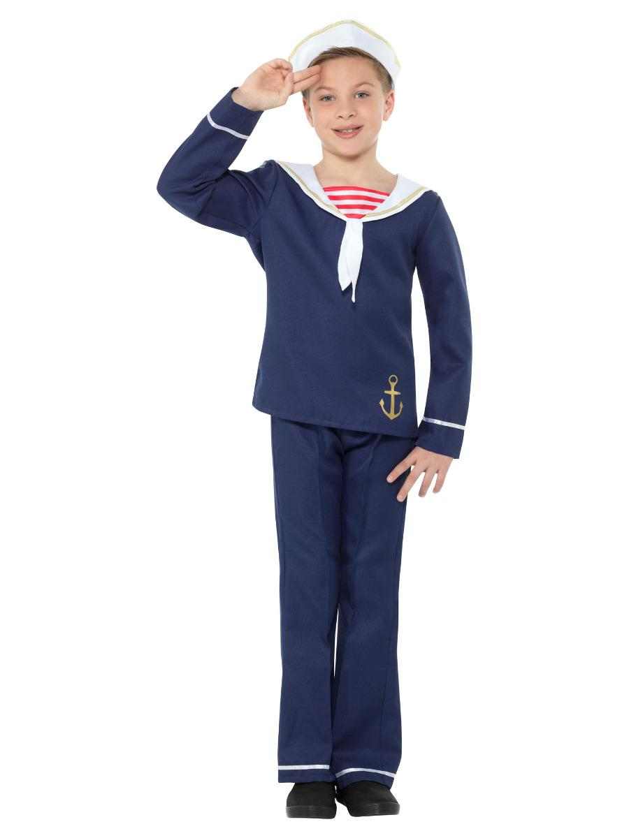 Sailor Boy Costume Blue & White with Top Trousers & Hat