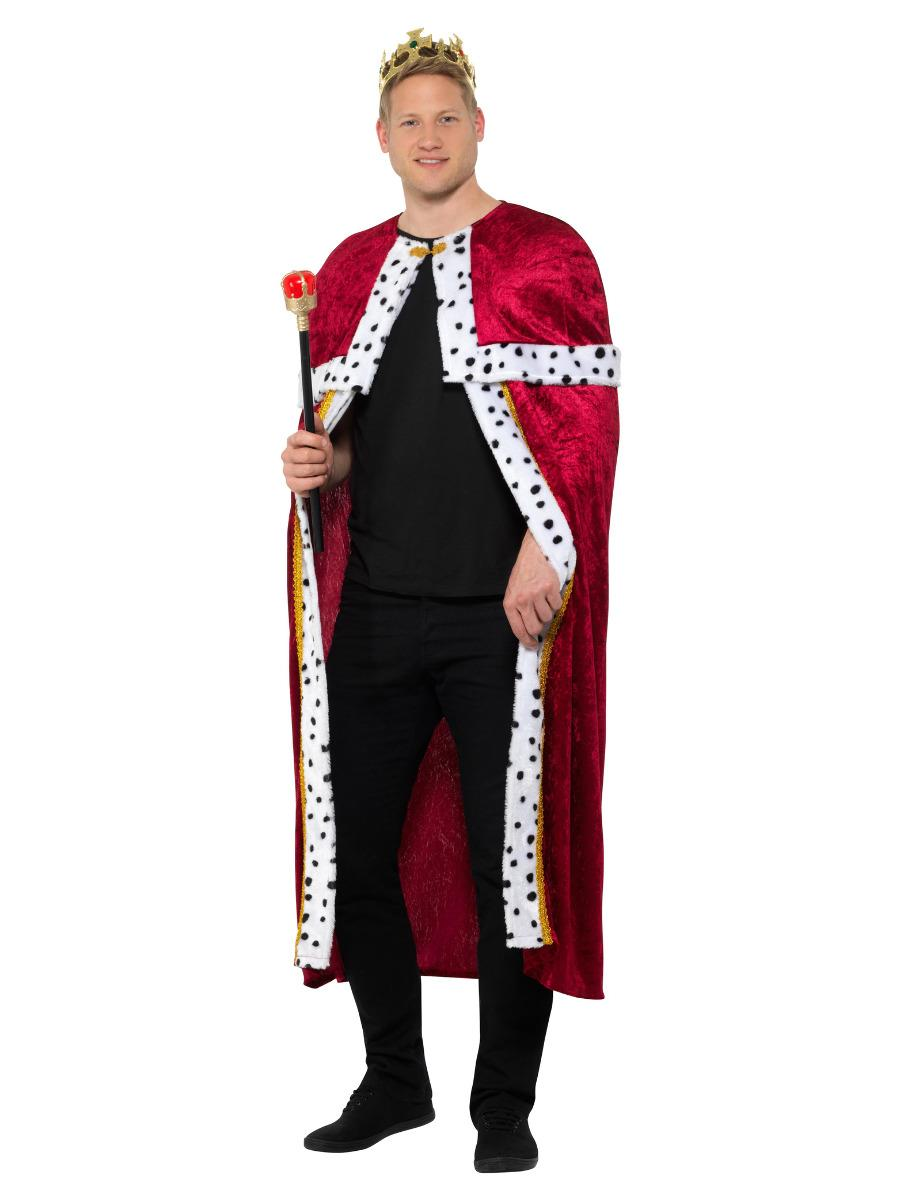 Royal Cloak Red with Crown & Sceptre Staff