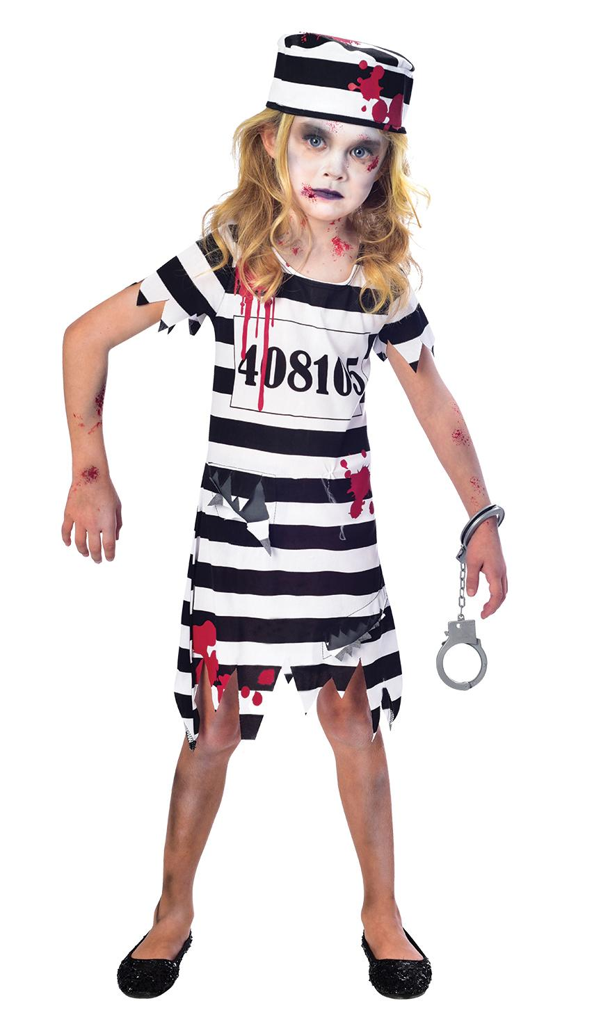 Kids Zombie Convict Girl Costume