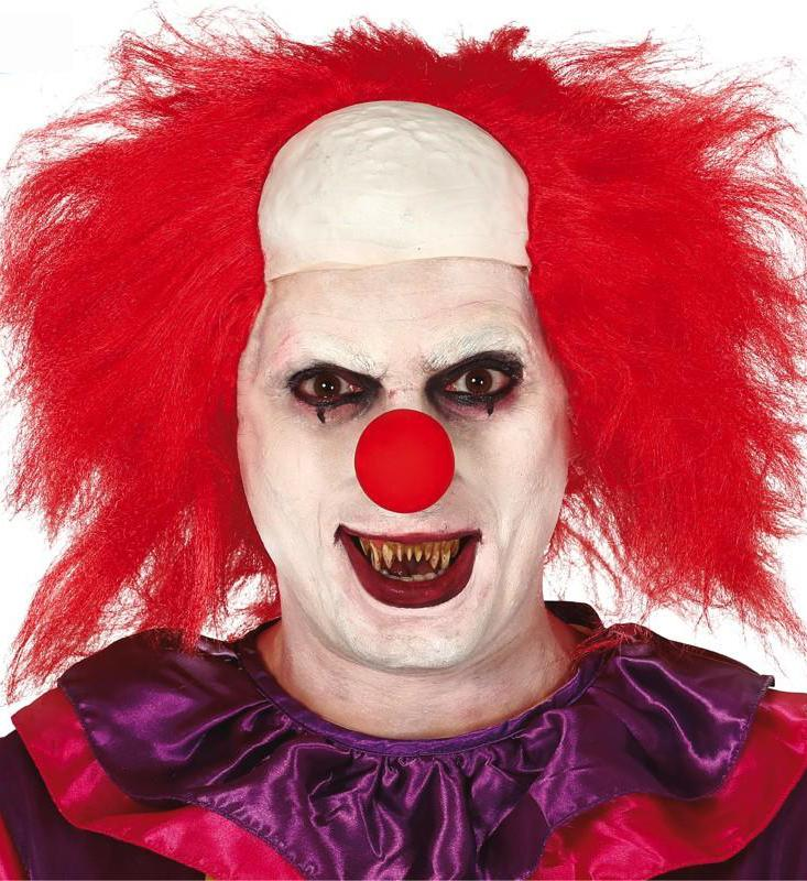 Scary Clown Wig Red with white forehead