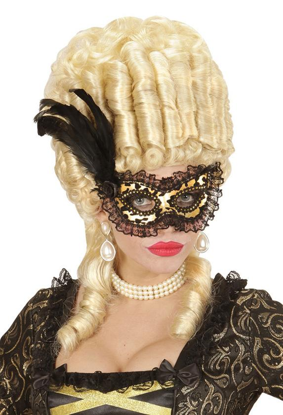 Flocked Gold Eye Mask wit Lace Trim & Rose