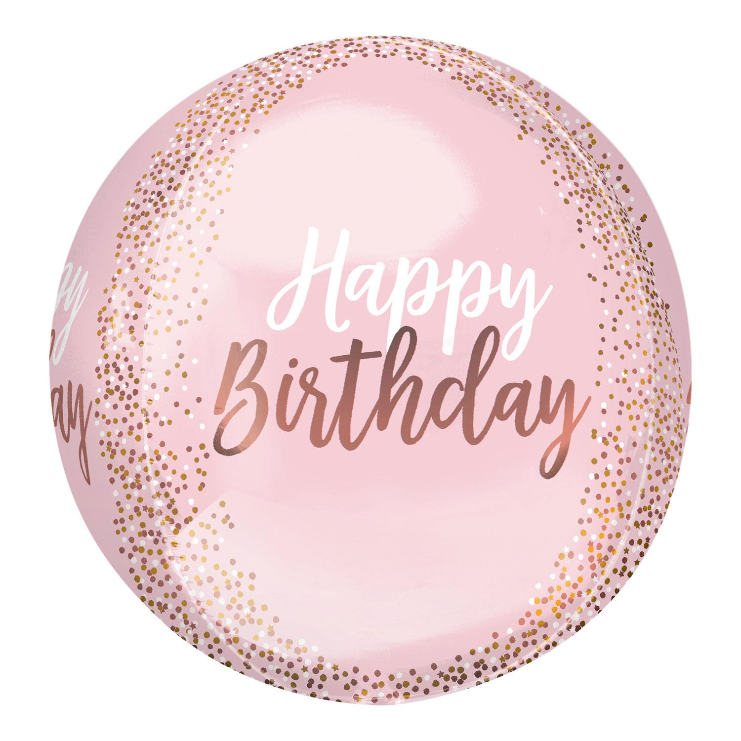 Orbz Foil Balloon Birthday Blush Pink