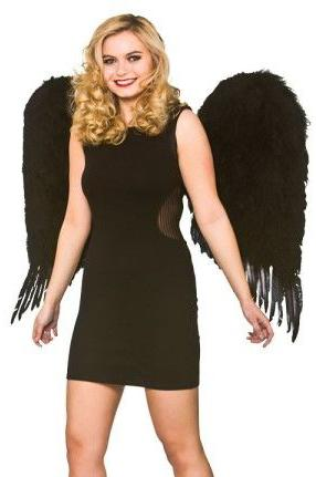 Large Feathered Angel Wings Black