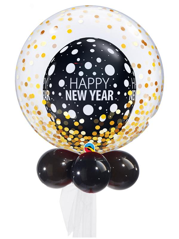 New Years Eve Double Bubble Balloon Bouquet