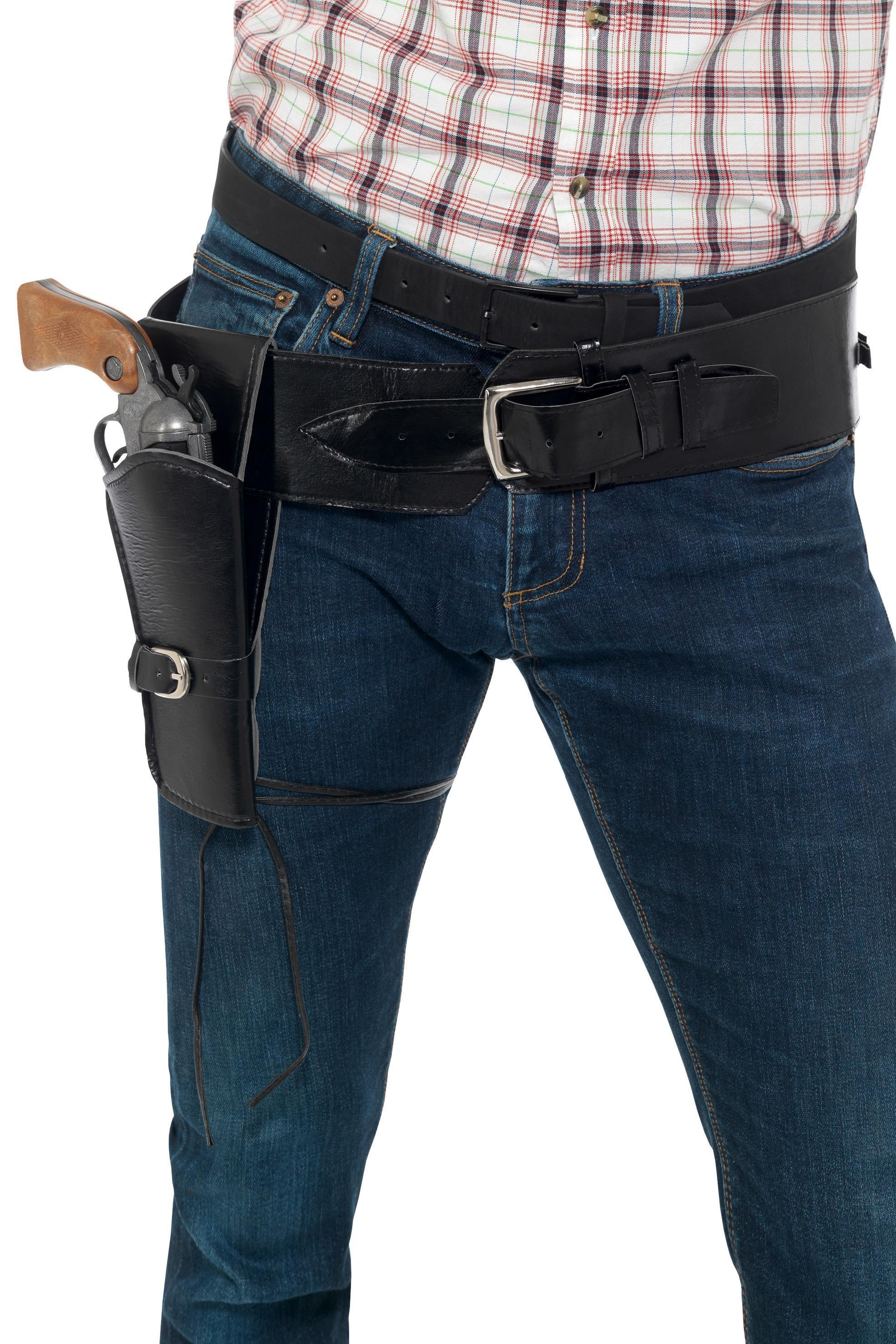 Faux Leather Holster with Belt Black