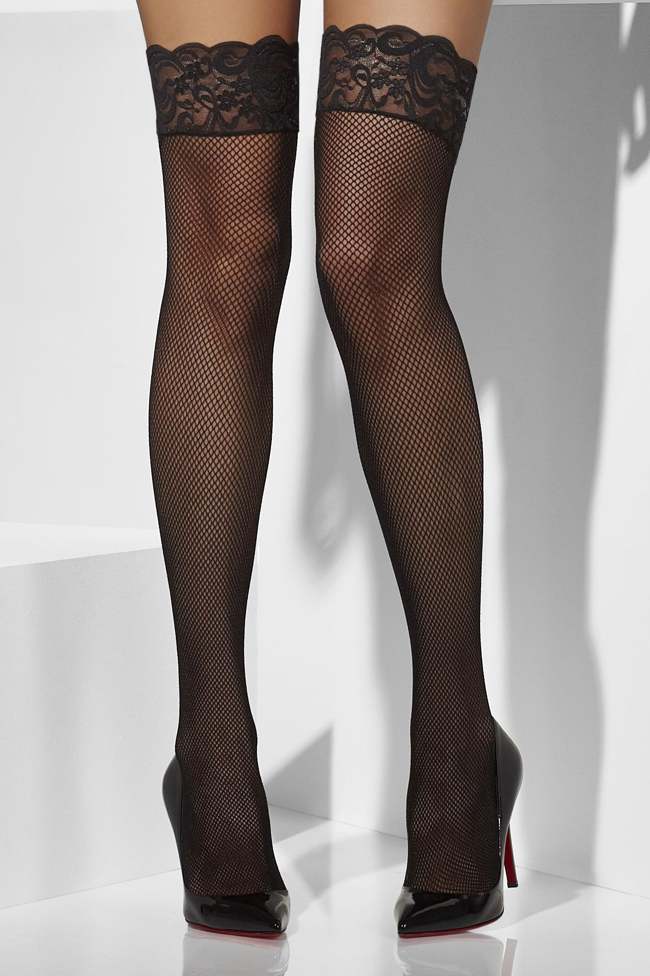 Fishnet Hold-Ups Black Lace Top