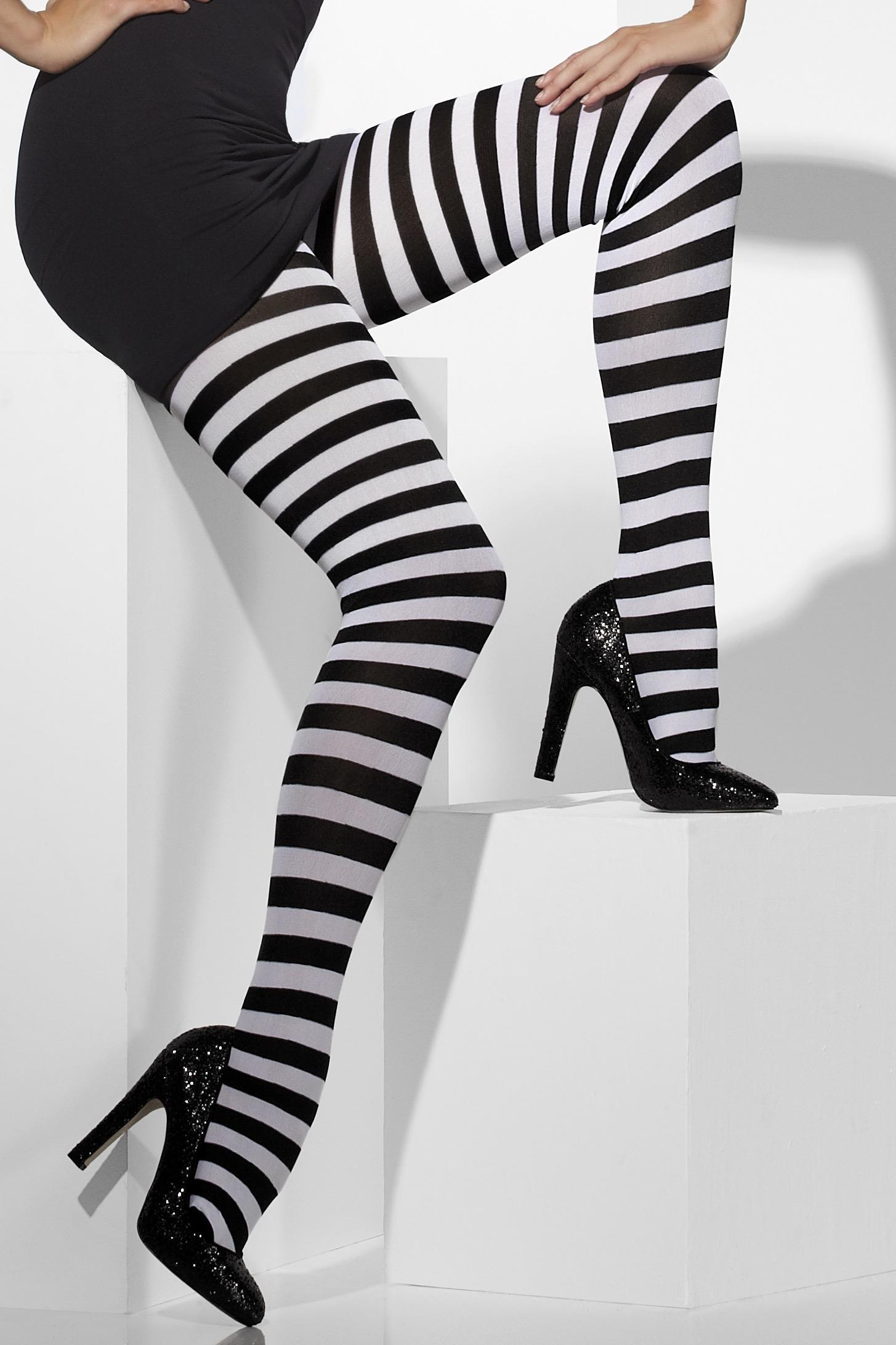 Opaque Tights Black & White Striped