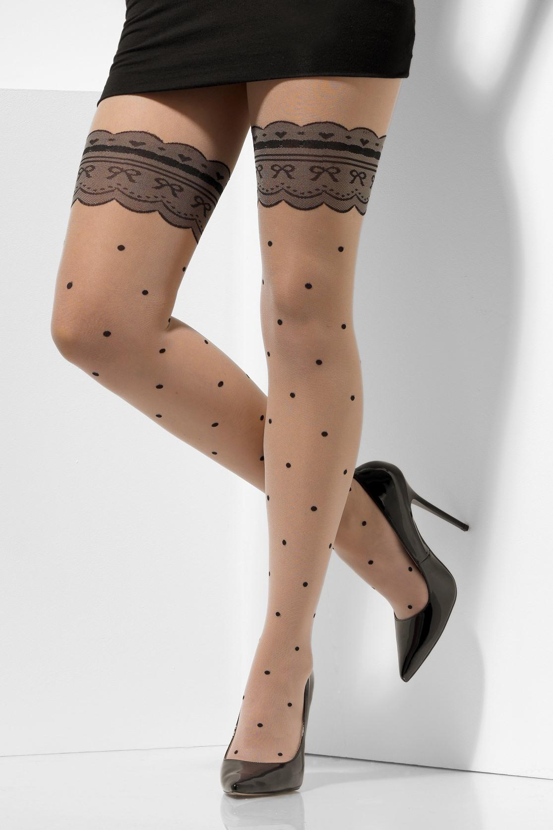 Sheer Tights Nude with Mock Hold-Up